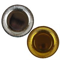Тарелка бумажная золото,серебро большая цена за упак 10шт 9-624 (1517)