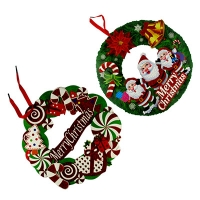 Наклейка новогодняя Рождественский венок малая  5-45 (6167)