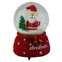 Статуэтка керамическая Санта Клаус в шаре движение под музыку d10см Pioner 92315-PN