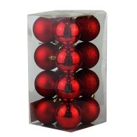 Набор елочных игрушек пластик 7см в упак 16шт 91871-PN