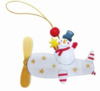 Новогодняя подвеска Снеговик 4,5см деревянная 91049-PN