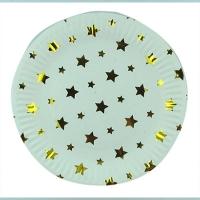 Тарелка бумажная Золотые звездочки малая цена за упак (10 шт) 5-295 (1517)
