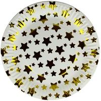 Тарелка бумажная Золотые звездочки большая  цена за упак (10шт)32 5-296 (1517)