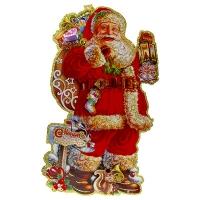 Наклейка новогодняя Дед Мороз с фонарем 5-337 (6244)