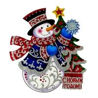 Наклейка новогодняя Снеговик с елочкой 5-338 (6244)