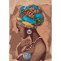 Набор для росписи по номерам 35*50см Люди. Жемчужина Африки КНО2625