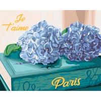 Набор для росписи по номерам 40*50см Букеты. Любимый Париж с металлической краской КНО3034