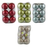 Новогодний пластиковый шар d80мм металик Цена за упак 6 шт