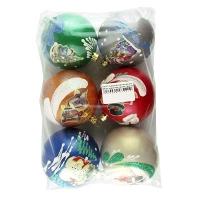 Новогодний пластиковый шар d80мм новогодний пейзаж Цена за упак 6 шт
