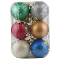 Новогодний пластиковый шар d60мм новогодний пейзаж Цена за упак 6 шт