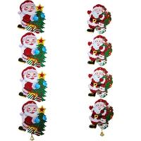 Гирлянда растяжка Санта и снеговик,Санта и елочка с колокольчиком  5-352 (6244)