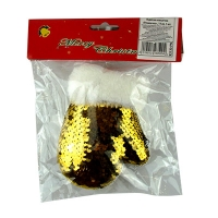Новогодняя Рукавичка золотые паетки 14*10*4см 1шт 92130-PN