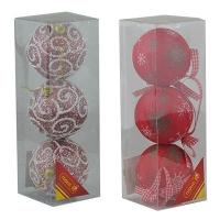 Набор елочных игрушек пластик 8см в упак 3шт 92063-PN (128)