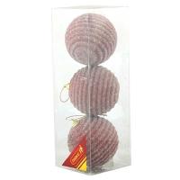 Набор елочных игрушек пластик 8см в упак 3шт 92040-PN (120)