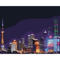 Набор для росписи по номерам 40*50см Морской пейзаж. Ночной Шанхай КНО3507