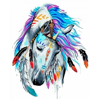 Набор для росписи по номерам 40*50см Животные, птицы. Грациозный воин КНО4002