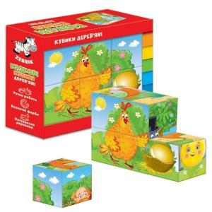 Кубики деревянные 2 Сказки в наборе Колобок и Курочка Ряба  укр ZB1002-01