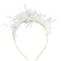 Обруч с ушками Рожки чешуя белые (цена за уп)