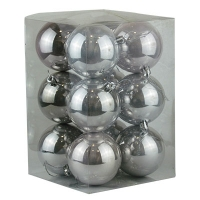 Набор елочных игрушек шар 8см 12шт серебро  92394-PN