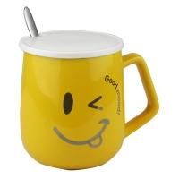 Чашка керамическая с крышкой и ложкой 51709