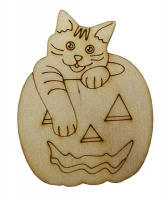 Фанера Тыква с котом сверху 5*6,5см В-0216