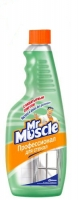 Средство для мытья стекл Мистер Мускул 500мл со спиртом (курок зеленый) запаска