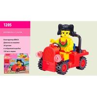 """Конструктор """"Brick"""" 1205 (120шт) """"Девочка"""" на машине, 34 дет. в собр. кор. 9,5*7*4,5см"""