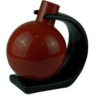 Ваза глазурь красная на черной подставке 31777