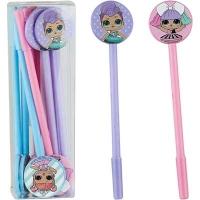 Ручка гелевая синяя кукла  NoName 9052