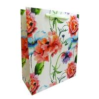 Пакет подарочный крупные цветы люрик 32*26 52975