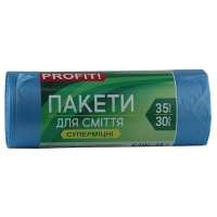 Пакеты для мусора 35л*30 синий Profit 9563