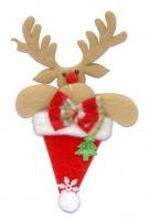 Новогодняя подвеска Олень в шапке 14см 90628-PN