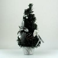Искусственная елка зеленая 27см настольная серебряный цветок 5-88 (6261)