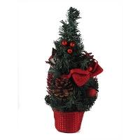 Искусственная елка зеленая 30см настольная с шышками 5-91 (6261)