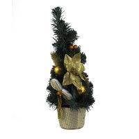 Искусственная елка зеленая 40см настольная цветок золото  5-94 (6261)