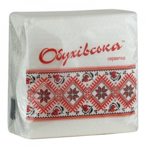 Салфетки бумажные 1-шаровые Обуховские 40шт белые 230*240