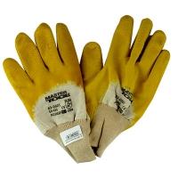 """Перчатки стекольщика х/б ткань с латексным ребристым покрытием желтые 10,5"""" Master Tool"""