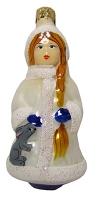 Новогодняя игрушка формовая стекло 11см Снегурочка 1016/2