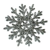 Новогодняя подвеска Снежинка №0 6см серебро цена за упак 10шт