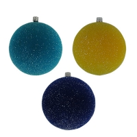 Новогодний пластиковый шар d100мм бархат блеск ассорти цена за упак ( 3 шт)