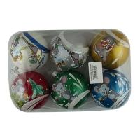 Набор елочных игрушек пластик шар d80мм Символ года цена за упак 6шт