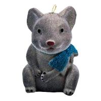 Новогодняя игрушка Крыса с бантиком 9см бархат пластик
