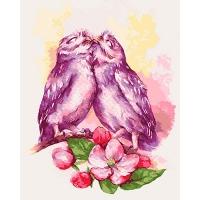 Набор для росписи по номерам 40*50см Животные, птицы. Милые совушки КНО4034