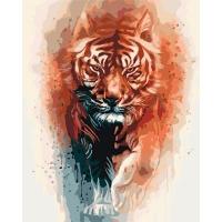 Набор для росписи по номерам 40*50см Животные, птицы. Огненная сила тигра КНО4037