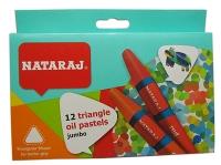 Карандаши цветные 12шт пастель Nataraj треугольные масляные 90мм 209760002