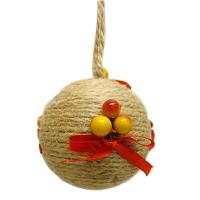 Новогодний пластиковый шар d80мм плетенка