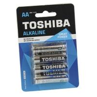 Батарейка пальчик  LR-06 TOSHIBA Alkaline ВР-4 цена за 1 шт.