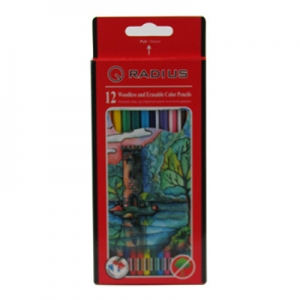 Карандаши цветные 12шт пластмасовые шестигранный с ластиком Radius CP-109