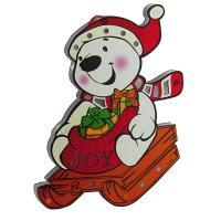 Новогодняя подвеска Снеговик на санках  h35см со светом Pioner 92126-PN