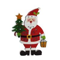 Новогодняя фигура Санта с елкой h35см со светом Pioner 92127-PN
